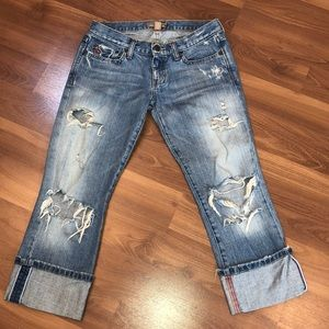 Abercrombie & Fitch Distressed Cropped Jeans